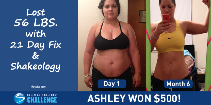 Ashley lost 56 pounds with the 21 Day Fix and Shakeology!